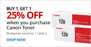 Buy 1, Get 1 25% Off Canon Toner. Limit 2. Multipacks count as 1.