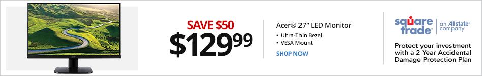 "Acer® KA270H Abix 27"" LED Monitor, Ultra-Thin Bezel, VESA Mount, UM.HX0AA.A06. Save 50 for 129.99"