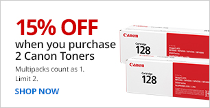 15% off when you purchase 2 Canon toners. Limit 2. Multipacks count as 1.