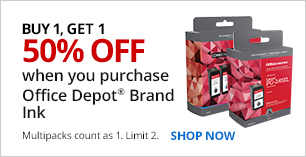 Buy 1, Get 1 50% off Office Depot Brand Ink. Limit 2. Multipacks count as 1.