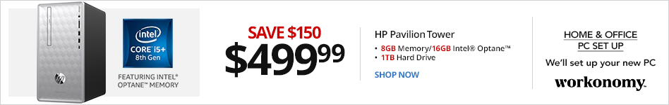 HP Pavilion 590-p0050 Desktop PC, 8th Gen Intel® Core? i5+, 8GB Memory/16GB Intel® Optane? Memory, 1TB Hard Drive, Windows® 10 Home. Save $150 for $499.99 Message: Accelerate Your Workflow with Intel Optane Memory (logo)