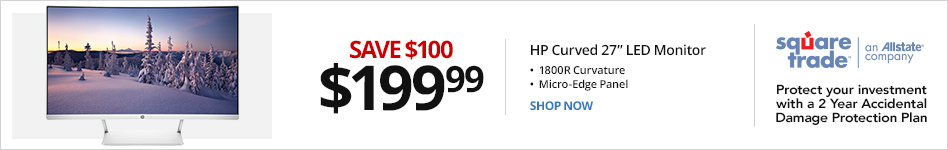 "HP Curved 27"" Monitor, Z4N74AA#ABA. Save $100 for $199.99"