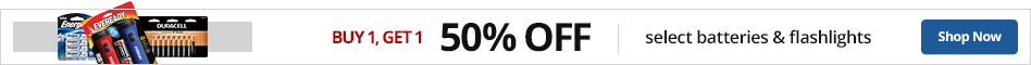 B1G1 50% off Select Batteries & Flashlights