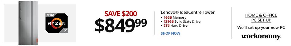 Lenovo® IdeaCentre 720 Desktop PC, AMD Ryzen, 16GB Memory, 128GB SSD/2TB Hard Drive, Windows® 10, 90HY0006US, Radeon RX 560 4GB. Save 200 for 849.99