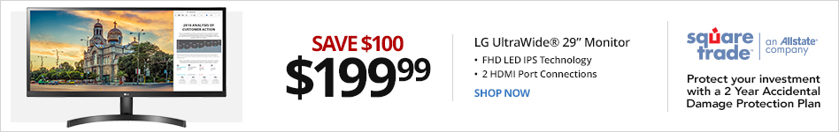 """LG Class UltraWide® 29"""" Full-HD LED Monitor, 29WK500-P. Save 100 for 199.99"""
