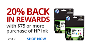20% Back in Rewards with $75 or more purchase of HP Ink