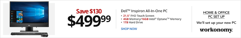 """Dell? Inspiron 22-3277 All-In-One PC, 21.5"""" Touch Screen, 7th Gen Intel® Core? i3, 4GB Memory/16GB Intel® Optane? Memory, 1TB Hard Drive, Windows® 10 Home. Save $130 for $499.99"""