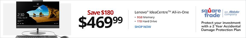 "Lenovo® IdeaCentre? 520 F0DN001NUS All-In-One PC, 23.8"" Screen, AMD Ryzen 3, 8GB Memory, 1TB Hard Drive, Windows® 10 Hom. Save 180 for 469.99"
