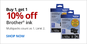 Buy 1, Get 1 10% Off Brother Ink. Limit 2