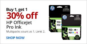 Buy 1, Get 1 30% Off HP OfficeJet Pro Ink. Limit 2