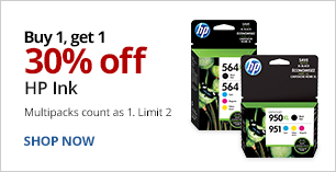 Buy 1 Get 1 30% Off HP Ink. Multipacks count as 1. Limit 2.