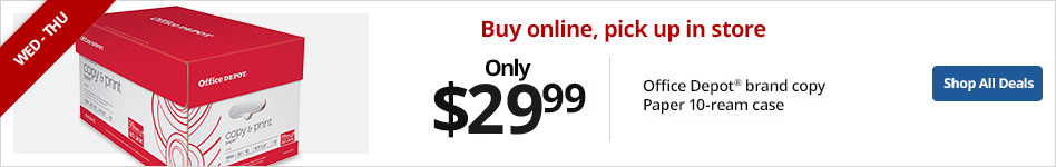 Office depot brand 10 - ream case paper only $29.99 when you buy online, pick up in store