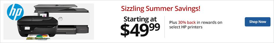 Sizzling Summer Savings! HP Printers starting at $49.99 Plus 30% back in rewards on select printers