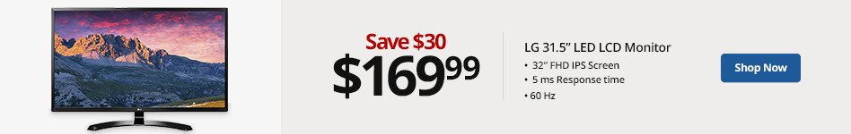 """LG 31.5"""" LED LCD Monitor, 32MP58HQP. Save 30 for 169.99"""