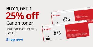 Buy 1 Get 1 25% Canon Toner.  Limit 2. Multipacks count as 1.