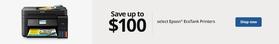 Save up to $100 select Epson EcoTank Printers