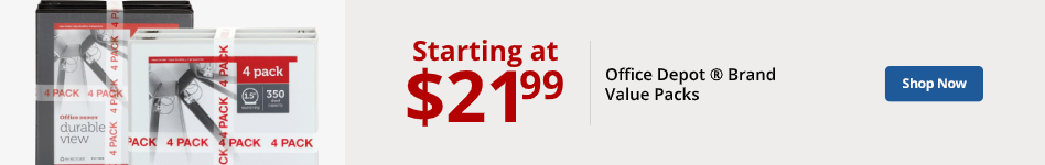 Office Depot brand value packs starting at $21.99