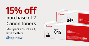 15% off the purchase of 2 Canon toners. Limit 2. Multipacks count as 1.