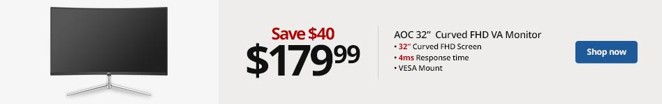 "AOC 31.5"" Full HD LED Monitor, Curved Bezel, VESA Mount, C32V1Q. Save 40 for 179.99"