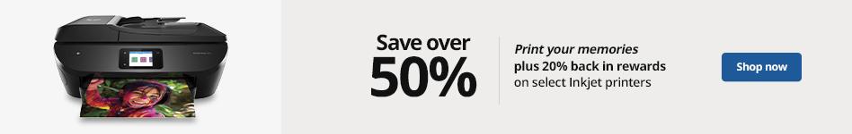 Save over 50% Plus 20% Rewards Back On Select inkjet Printers