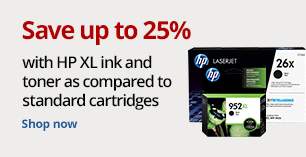 Save up to 25% with HP XL Ink as compared to standard cartridges. Add FREE DELIVERY on ALL ink & toner