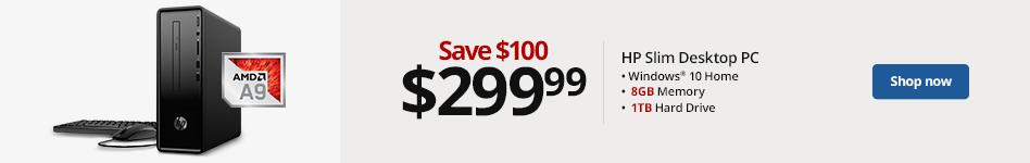 HP 290-a0046 Slim Desktop PC, AMD A9, 8GB Memory, 1TB Hard Drive, Windows® 10, 2HL09AA#ABA.  Save 100 for 299.99