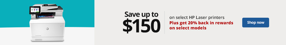 Save up to $150 on select HP Laser Printers Plus 20% back in rewards on select models