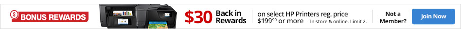 $30 Back in rewards on select HP Officejet Printers