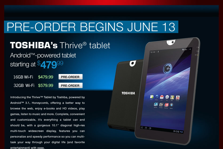 Pre-Order: Toshiba Thrive