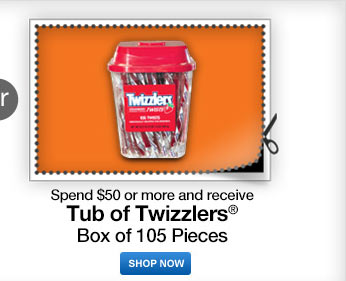 spend $50 or more receive tub of twizzlers