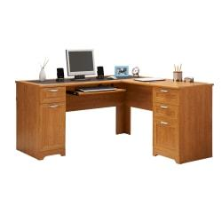 Realspace(R) Magellan Collection L-Shaped Desk, Honey Maple