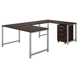 Bush Business Furniture 400 Series U Shaped Table Desk With 3 Drawer Mobile File Cabinet, 60in.W x 30in.D, Mocha Cherry, Premium Installation