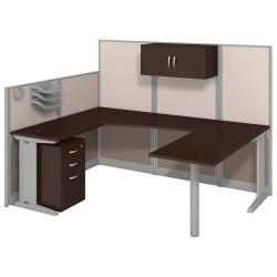 Bush Business Furniture Office In An Hour U Workstation with Storage Accessory Kit, Mocha Cherry Finish, Premium Delivery
