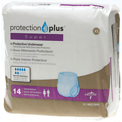 Protection Plus Super Protective Disposable Underwear, X-Large, 56 - 68in., White, 14 Per Bag, Case Of 4 Bags