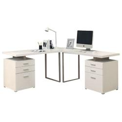 Monarch Specialties L-Shaped Computer Desk With File Drawers, White
