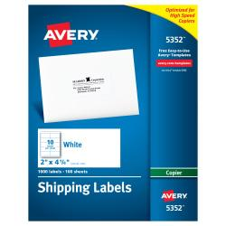 Avery(R) Copier Permanent Address Labels, 5352, 2in. x 4 1/4in., White, Pack Of 1,000