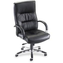 Lorell(R) Bridgemill Executive Leather High-Back Chair, Black