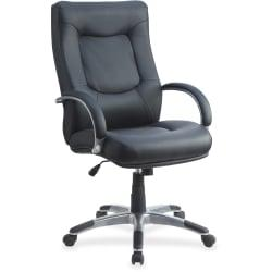 Lorell(R) Stonebridge Executive Bonded Leather High-Back Chair, Black