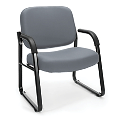 OFM Big And Tall Reception Chair With Arms, Gray/Black
