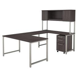 Bush Business Furniture 400 Series U Shaped Table Desk with Hutch and 3 Drawer Mobile File Cabinet, 60in.W, Storm Gray, Standard Delivery