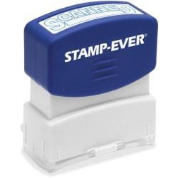 Stamp-Ever SCANNED Pre-inked Stamp - Message Stamp - SCANNED - 1.81in. Impression Width x 0.63in. Impression Length - 50000 Impression(s) - Blue - 1 Each