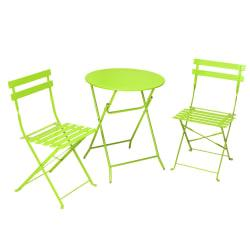 Cosco (R) Folding Bistro Patio Table And Chairs, Apple Green, Set Of 3