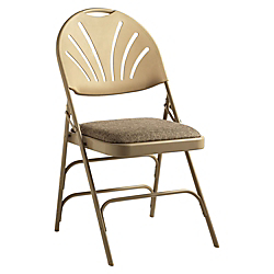Samsonite(R) XL Fanback Folding Chairs, Fabric, Neutral/Neutral, Set Of 4