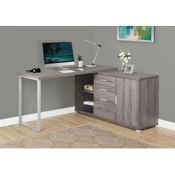 Monarch Specialties L-Shaped Computer Desk With Cabinet, Dark Taupe