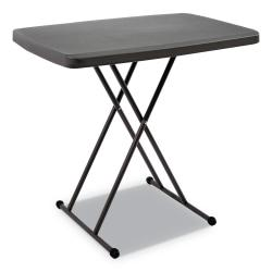 Iceberg IndestrucTable TOO Personal Folding Table - Rectangle Top - X-shaped Base - 30in. Table Top Length x 20in. Table Top Width - 28in. Height - Charcoal
