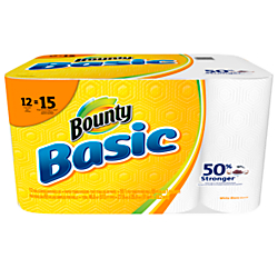 Bounty(R) Basic 1-Ply Paper Towels, 10 3/16in. x 10 1/5in., White, 55 Sheets Per Roll, 12 Rolls