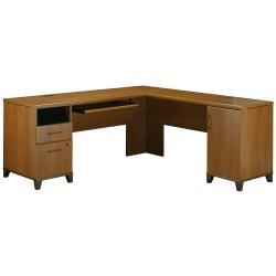 Bush Furniture Achieve L Shaped Desk, Warm Oak, Standard Delivery