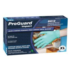 ProGuard Plus Aloe Coated Disposable Vinyl Powder Free General Purpose Gloves - X-Large Size - Vinyl - Green - Powder-free, Disposable, Beaded Cuff, Ambidextrou
