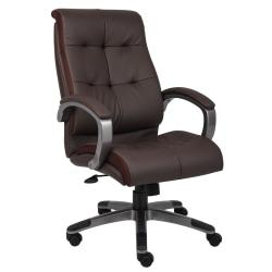 Boss Office Products Double-Plus Leather High-Back Chair, Brown/Pewter