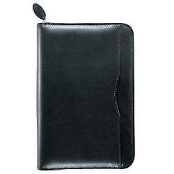 Day-Timer(R) Verona 6-Ring Leather Binder With Zipper, 3 3/4in. x 6 3/4in., Black
